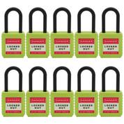 "10pcs  nylon safety lockout padlock 1-1/2""(40mm), Keyed Alike, Green"