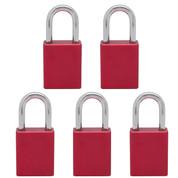 5 pcs Aluminum safety lockout tagout padlock 1-1/2''(40mm), Keyed Alike - Red