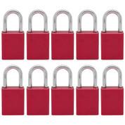 10 pcs Aluminum safety lockout tagout padlock 1-1/2''(40mm), Keyed Alike - Red