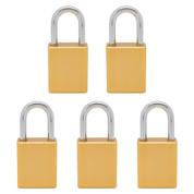 5 pcs Aluminum safety lockout tagout padlock 1-1/2''(40mm), Keyed Alike - Yellow