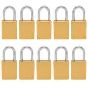 10 pcs Aluminum safety lockout tagout padlock 1-1/2''(40mm), Keyed Alike - Yellow