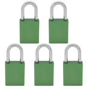 5 pcs Aluminum safety lockout tagout padlock 1-1/2''(40mm), Keyed Alike - Green