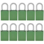 10 pcs Aluminum safety lockout tagout padlock 1-1/2''(40mm), Keyed Alike - Green