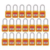 "20pcs Nylon safety lockout padlock 1-1/2""(40mm), Keyed Alike, Yellow"