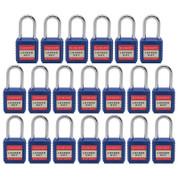 """20pcs Nylon safety lockout padlock 1-1/2""""(40mm), Keyed Alike, Blue"""