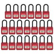 """20pcs Insulated nylon safety lockout padlock 1-1/2""""(40mm), Keyed Alike, Red"""