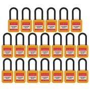 "20pcs Insulated nylon safety lockout padlock 1-1/2""(40mm), Keyed Alike, Yellow"