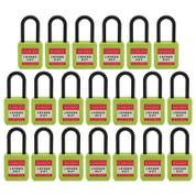 "20pcs  nylon safety lockout padlock 1-1/2""(40mm), Keyed Alike, Green"
