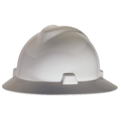 MSA V-Gard Full Brim Hard Hat, Slotted with FasTrac III Ratchet Suspension