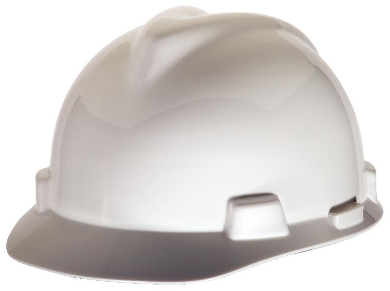 MSA V-Gard® Hard Hat, Polyethylene, Standard Size, Slotted with Fas Trac®  III Ratchet Suspension