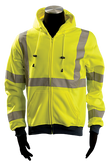 Occunomix Premium Class 3 Hoodie Sweatshirt, Zip Closure, Hi-Visibility Yellow, 9 oz Fabric, LUX-SWT3HZ