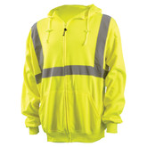 OccuNomix LUX-SWTLHZ Type R Class 2 Zippered Lightweight Safety Hoodie, Hi-Viz Yellow/Lime