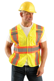 Occunomix High Visibility Yellow Classic Mesh Two-Tone Expandable Vests, Mfg# LUX-SC2TB