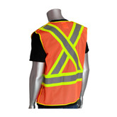 PIP ANSI Class 2 X-Back Safety Vest, Hi-Vis Orange, 5-Point Breakaway, ANSI Type R Class 2 and CAN/CSA Z96, MFG# 302-0211