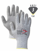 Worldwide Protective Products ATA 960 Cut Resistant Work Glove, ANSI Cut Level A3, Grey Polyurethane Coated Palm, 1 Pair/Pkg