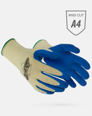 Worldwide Protective MATA10-BDB Work Glove, ANSI Level A4 Cut Protection, Blue Latex Coated Palm and Fingers, Sold in Pairs
