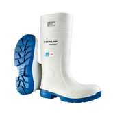 Dunlop® White FoodPro Purofort® MultiGrip Safety Toe Boot, Blue Outsole, Omega/EH |  Mfg# EA51131
