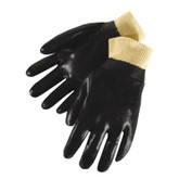 Durawear Black PVC Work Glove, Knit Wrist, Single Dipped, Smooth Finish, 12 pair/pkg, Part No. 2231