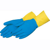 Liberty Glove Blue Neoprene Over Yellow Latex Gloves, Embossed Grip, 28 mil Thick, Flocklined, 12 pair/pkg, Mfg# 2570