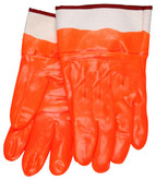 "Fluorescent Orange PVC Coated Glove, Smooth Finish, Foam Insulated, 2 1/2"" Rubberized Safety Cuff, Sold in Pairs 