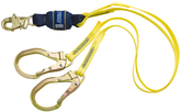 DBI Sala 1246159 Force2 Double Leg 100% Tie Off Shock Absorbing Lanyard, 6 ft. (1.8m) web,  Steel Rebar Hooks at Each End, Mfg# 1246159