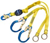 DBI Sala 1246071 EZ-Stop Tie-Back 100% Tie-Off Shock Absorbing Lanyard, 6 ft. (1.8m) web double-leg with adjustable D-rings for Tie-Back, Aluminum Snap Hook At Center, Aluminum Rebar Hooks at Leg Ends