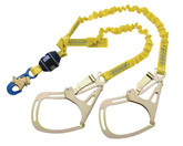 DBI Sala 1246350 EZ-Stop Force2 Double Leg 100% Tie Off Shock Absorbing Lanyard, 6 ft. (1.8m) web,  Saflok Tower Hooks at Each End