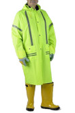 "Workforce RLC89 Storm Stripes 49"" Length Raincoat with Hood, Hi-Visibility Lime Green, .35 mm PVC/Polyester, Reflective Striping"