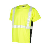 ML Kishigo 9114 Premium Black Series Short Sleeve Shirt, Hi-Vis Lime Class 2 ,