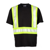 "ML Kishigo B200 EV Series Enhanced Visibility Contrast Short Sleeve Black/Lime T-Shirt 2"" Contrasting Reflective Tape"