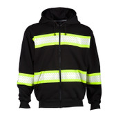 "ML Kishigo B310 EV Series Enhanced Visibility Contrast Heavyweight Hoodie, Black/Lime, 2"" Contrasting Reflective Tape"