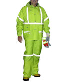 Workforce RLS89 Storm Stripes 3 Piece Rainwear Suit, Hi-Visibility Lime Green, .35 mm PVC/Polyester, Reflective Striping