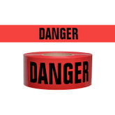 "Barricade Tape, Danger Danger Danger, Red with Black Letters, 2.4 mil, 3"" x 1000 Ft, Mfg# DT-2"