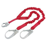 Protecta PRO Stretch Shock Absorbing Lanyard, 100% Tie-Off with Rebar Hooks on each end, Mfg# 1340161