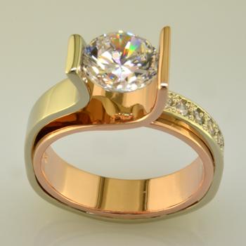 Diamond Rose and White Gold Engagement Wedding Ring