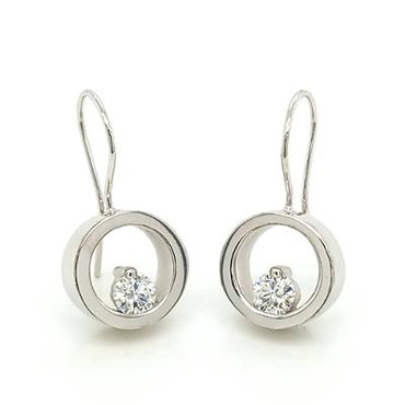 """These earrings are truly timeless. Beautiful circles with floating Diamonds at the bottom. 14 karat White Gold, with .50ct T.W. Ideal cut lab grown Diamonds hanging on wires. Measure 1"""" long.  Designed and handmade by the artist Stuart J."""