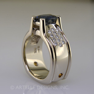 Ladies white gold diamond and sapphire engagement ring- wed 300