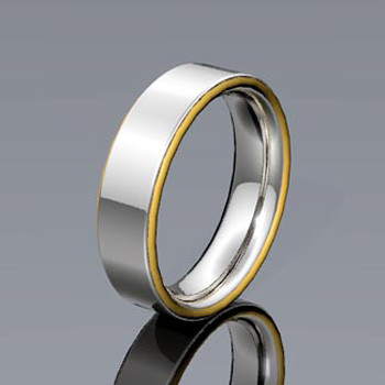 Tu tone Man's wedding ring with yellow gold stripes on outer edge of band. Modern and elegant.  This custom designed wedding ring is designed to be Perfectly You, and takes about 3-5 weeks to create. Call us for more information about how we can make this design Just For You.
