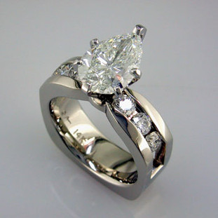 Ladies white gold diamond engagement ring- wed 45
