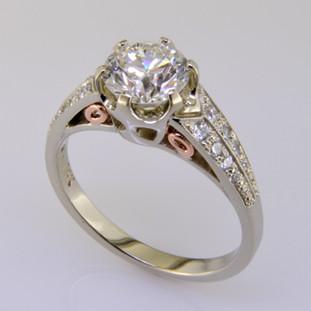 Ladies custom designed white and rose gold diamond engagement ring- wed 331