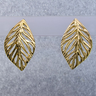 Everyday casual, or evening chic, you can't go wrong with this gold plated Sterling Silver leaf earrings.  These earrings measure 1 inch long and hang on posts. An Exceptional Value.  Hand-crafted in Northern Spain.