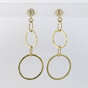 14 Karat Yellow gold Dangling circle earrings.  Hangs on yellow gold posts.  Measures 1 3/4 inches.