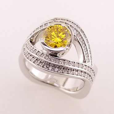 Wed- 401-  Custom designed ring for our customer's 30th anniversary using this 1ct. round created yellow diamond, and many sparkly diamonds.  Beautiful!