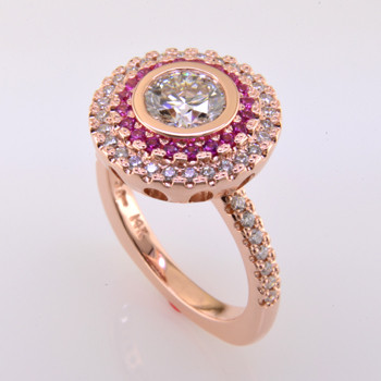 WED-371- Spectacular custom designed  14 karat rose gold diamond and pink sapphire double halo engagement ring with 1.20ct. created round brilliant diamond.  WOW!