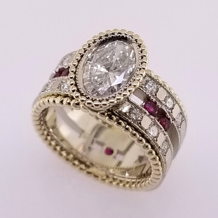 WED-398- Custom designed ring using our customers diamonds, rubies, and gold from old jewelry!