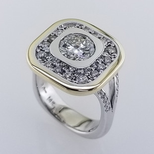WED-397- Custom designed, 14 karat white gold ring, using customers diamonds from her original ring, and adding new diamonds for her special anniversary!