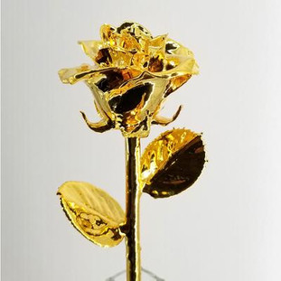 """Real semi-opened rose, with petals dipped in rich gold lacquer and trimmed in 24kt gold. Stem is approximately 12"""" long and is heavy gold plated. Each rose is elegantly wrapped in gold tissue and packaged in a gold, two-piece outer box. Price includes the vase, and regular shipping. Available in other colors. Call for color choices."""