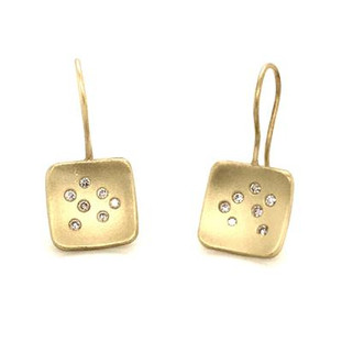 Fun and modern, these drop dangle earrings sing. Hand made in recycled 14 karat green gold with .16 carat T.W. of our super sparkly Ideal cut diamonds. These very special earrings measure 1 inch long. Sassy are these dangle earrings middle name.