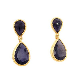 "Natural handcrafted splendor, these elegant dangle earrings are simplicity at its best! Sterling silver gold plated, showcasing these amazing dangling iolite pear shaped gemstones. Truly beautiful! These earrings measure 1"" long.  Dangles on posts.  These dangle earrings are one of a kind."