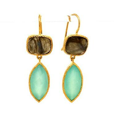 """Natural handcrafted splendor, these elegant dangle earrings are simplicity at its best! Sterling silver gold plated, showcasing these amazing dangling labradorite and calcedony gemstones.. Truly beautiful! These earrings measure 11/2"""" long.  Dangles on wires.  These dangle earrings are one of a kind."""